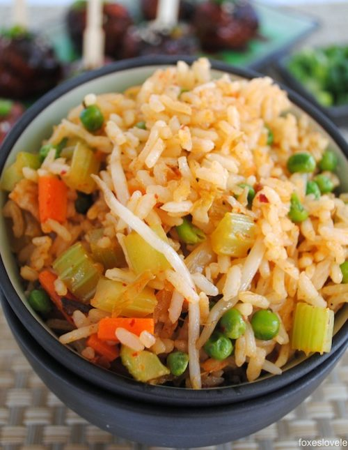 Kimchi Fried Rice - A quick and yummy vegetarian entree or side dish.   foxeslovelemons.com