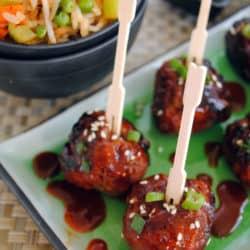 Spicy Korean-Style Gochujang Meatballs - An award-winning spicy and sweet party meatball!   foxeslovelemons.com