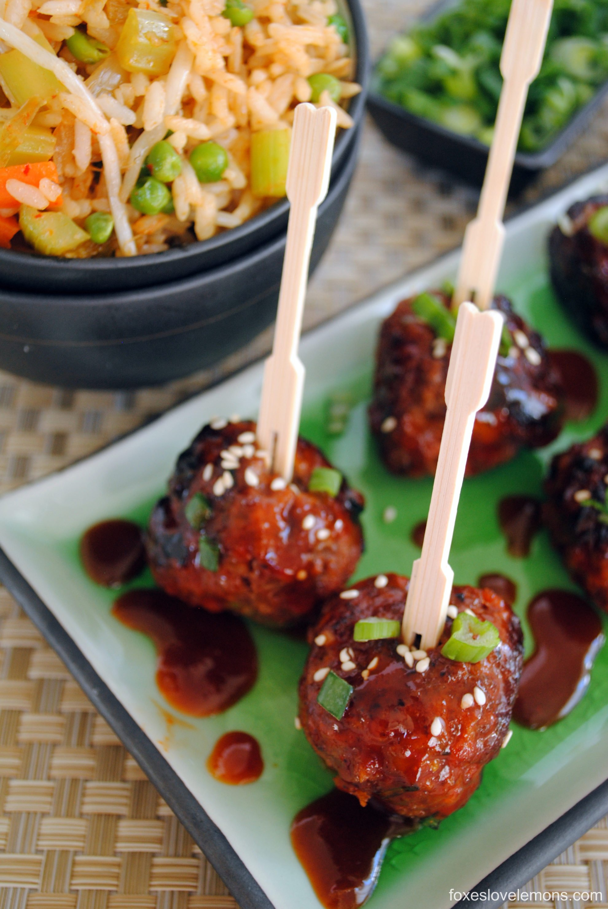 Spicy Korean-Style Gochujang Meatballs - An award-winning spicy and sweet party meatball! | foxeslovelemons.com