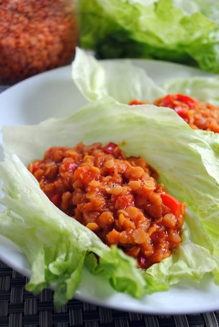 Vegetarian Lentil Sloppy Joe Lettuce wraps - simple, healthy, and delicious! | foxeslovelemons.com