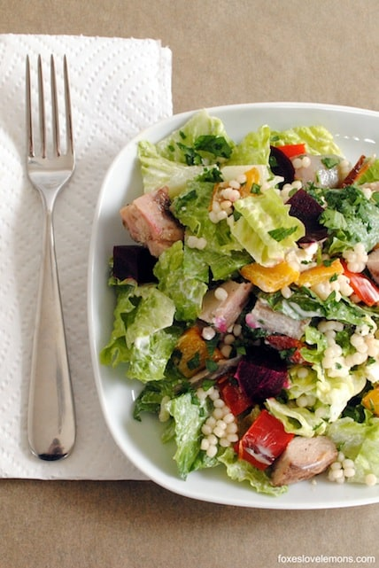 Mediterranean Chopped Salad with Israeli Couscous | foxeslovelemons.com
