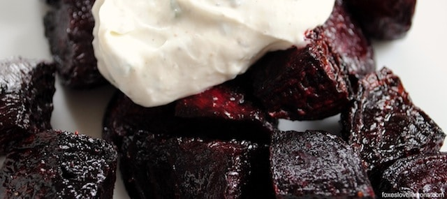 Roasted Beets with Chevre-Yogurt Sauce - An easy but elegant starter or side dish.Roasted Beets with Chevre-Yogurt Sauce - An easy but elegant starter or side dish. | foxeslovelemons.com