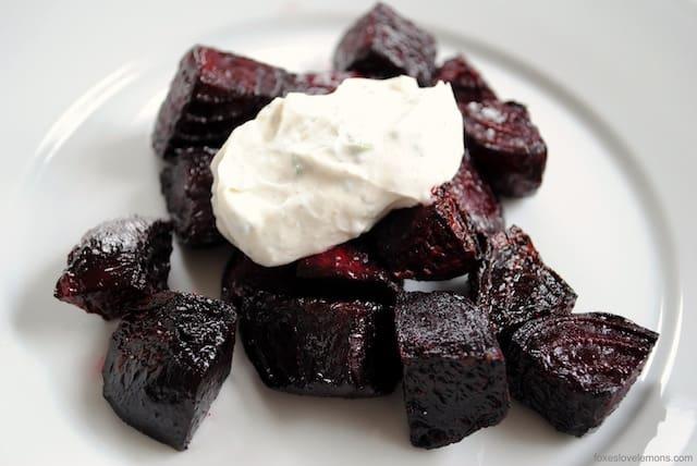 Roasted Beets with Chevre-Yogurt Sauce - An easy but elegant starter or side dish. | foxeslovelemons.com