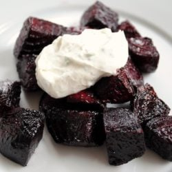 Roasted Beets with Chevre-Yogurt Sauce - An easy but elegant starter or side dish. | foxeslovelemons.com