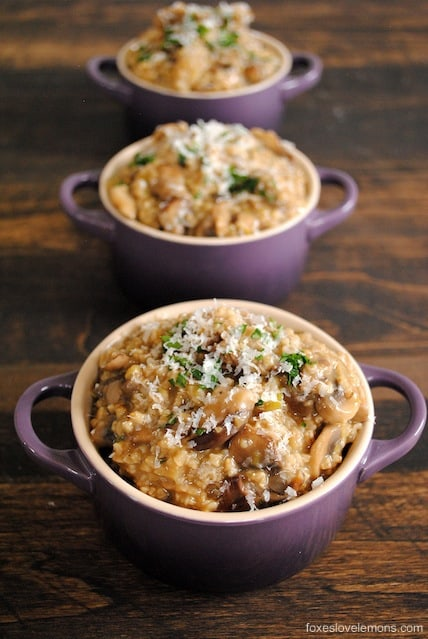 Savory Mushroom and Herb Steel-Cut Oat Risotto - eat oatmeal for dinner! A cheap, delicious, hearty vegetarian meal.
