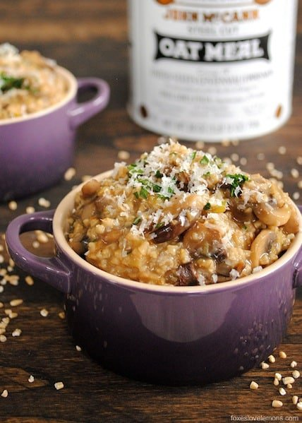 Eating oatmeal for dinner isn't as crazy as it sounds with this Savory Mushroom Oat Risotto. It's a cheap, delicious, hearty vegetarian meal.| foxeslovelemons.com