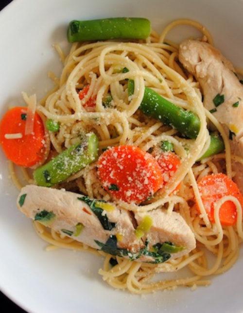 Spring Vegetable & Chicken Primavera - light and fresh simple pasta dinner that celebrates fresh vegetables. | foxeslovelemons.com