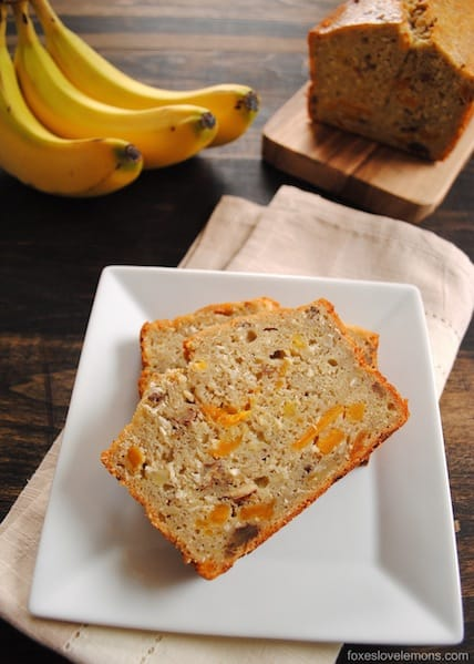 Tropical Mango Banana Bourbon Bread - a taste of Hawaii in a slice of bread!