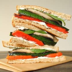 Grilled Vegetable Sandwiches with Herbed Goat Cheese - Tender grilled veggies stacked up with creamy herb-flecked goat cheese and spinach.   foxeslovelemons.com