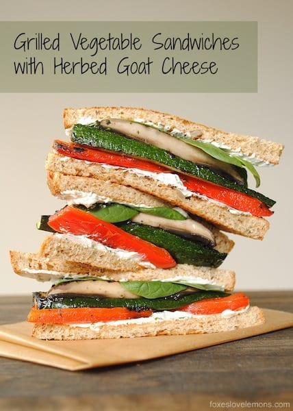 Grilled Vegetable Sandwiches with Herbed Goat Cheese - Tender grilled veggies stacked up with creamy herb-flecked goat cheese and spinach. | foxeslovelemons.com