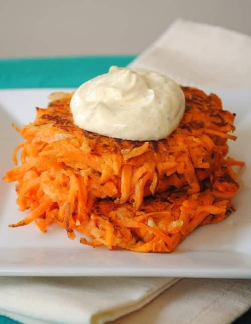 Maple Sweet Potato Cakes with Curried Greek Yogurt - a savory-sweet side dish for breakfast, brunch or dinner! | foxeslovelemons.com