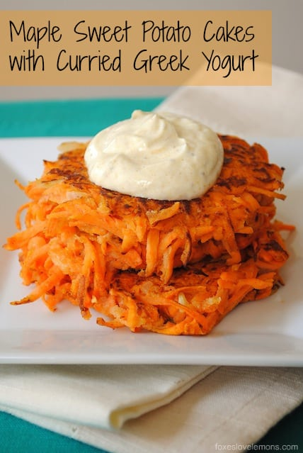 Maple Sweet Potato Cakes with Curried Greek Yogurt - a savory-sweet side dish for breakfast, brunch or dinner!
