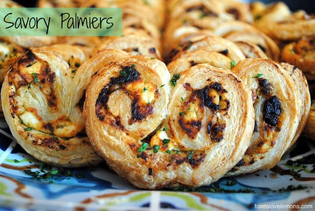 Savory Palmiers with goat cheese, sundried tomatoes, pine nuts and basil pesto.