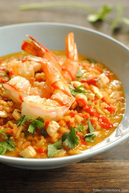 Spicy Coconut Risotto with Lime Shrimp - If you love Pad Thai, you'll love this risotto! | foxeslovelemons.com