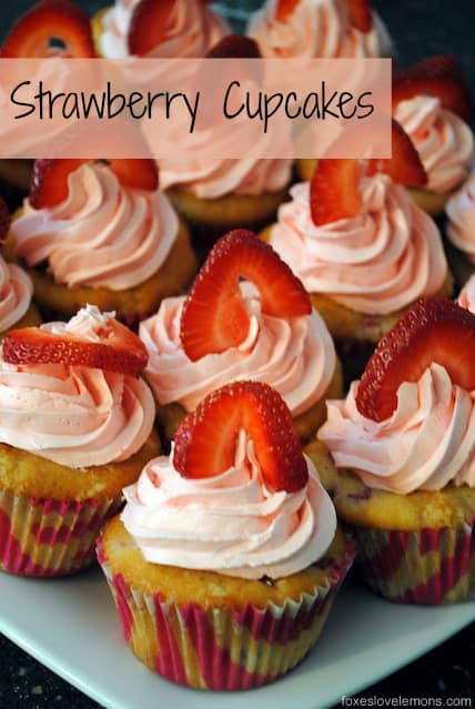The perfect summer cupcake! Fresh Strawberry Cupcakes with Swiss Meringue Buttercream. | foxeslovelemons.com