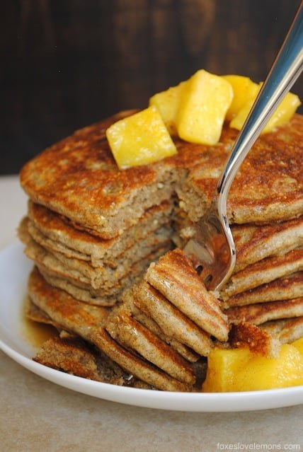 Whole Grain Pancakes with Pineapple-Ginger Compote - healthy whole-grain pancakes that taste great, with a fruity topping. | foxeslovelemons.com