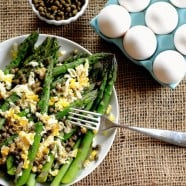 """Asparagus Mimosa from """"Plenty"""" - this mimosa isn't an excuse to drink champagne before noon, but it's a beautiful summer side dish!"""