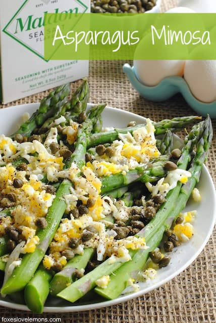 "Asparagus Mimosa from ""Plenty"" - this mimosa isn't an excuse to drink champagne before noon, but it's a beautiful summer side dish!"