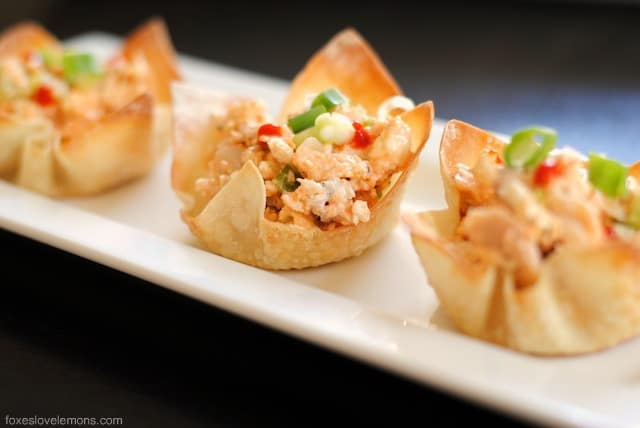 Buffalo Chicken Salad Wonton Cup Appetizers - so simple, so fast, yet such an impressive party bite! | foxeslovelemons.com