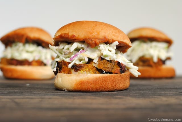 Curried Pork Sliders with Spicy Peanut Sauce and Apple Slaw | foxeslovelemons.com