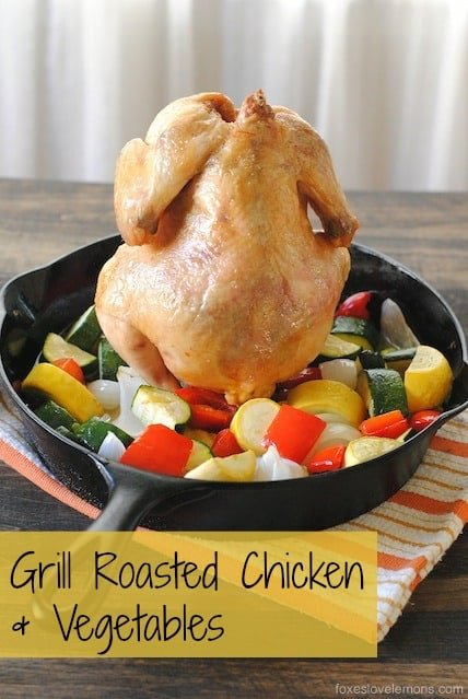 Grill-Roasted Chicken & Vegetables (beer can chicken with summer vegetables)