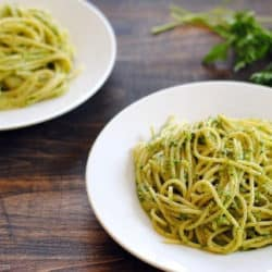 Pasta with Herb-Almond Pesto - a light and fresh spaghetti dinner. | foxeslovelemons.com