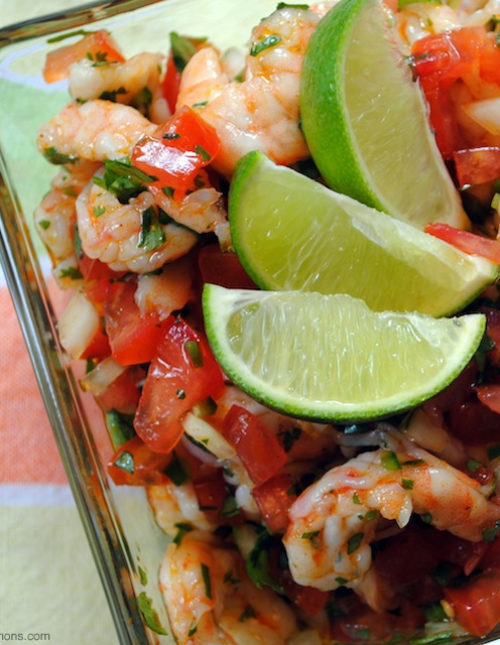 Fresh, healthy and easy! This Shrimp Ceviche recipe will wow as a restaurant-quality party appetizer that is so simple to make at home. | foxeslovelemons.com