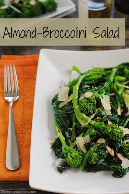 Almond Broccolini Salad – A cold, wholesome salad with broccolin, parmesan, currants, almonds and lemon vinaigrette.