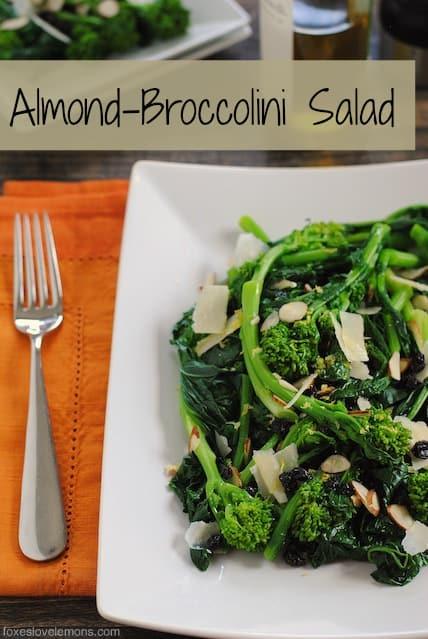 Almond Broccolini Salad – A cold, wholesome salad with broccolin, parmesan, currants, almonds and lemon vinaigrette. | foxeslovelemons.com