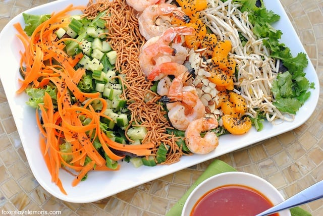 Asian Shrimp Salad with Gochujang Dressing – a cold, crunchy, refreshing salad for a warm day. | foxeslovelemons.com
