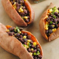 Black Bean & Corn Stuffed Sweet Potatoes – A filling, wholesome, simple vegetarian lunch idea with a zesty flavor! | foxeslovelemons.com