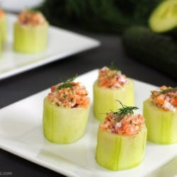 Cucumber Cups with Smoked Salmon Salad - An adorable appetizer that adds an elegant touch to any special occasion. Can easily be made using basic kitchen tools! | foxeslovelemons.com