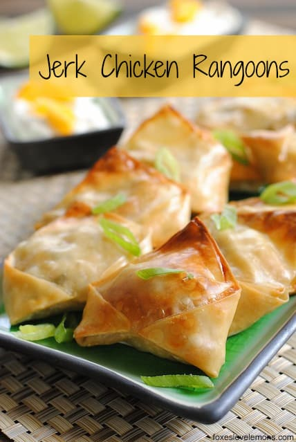 Jerk Chicken Rangoons w/ Mango Sour Cream - a sweet and spicy, crunchy party bite that's simple but impressive! | foxeslovelemons.com