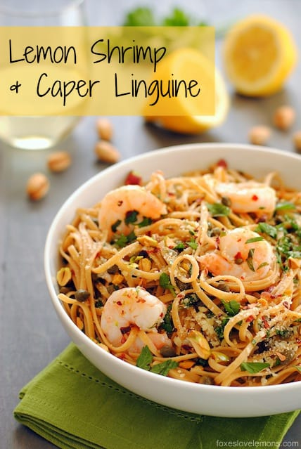 Lemon Shrimp & Caper Linguine - A fresh, light whole wheat linguine dish with sauteed shrimp, capers, garlic, olive oil, lemon juice, parsley, red pepper flakes, parmesan and pistachios. | foxeslovelemons.com