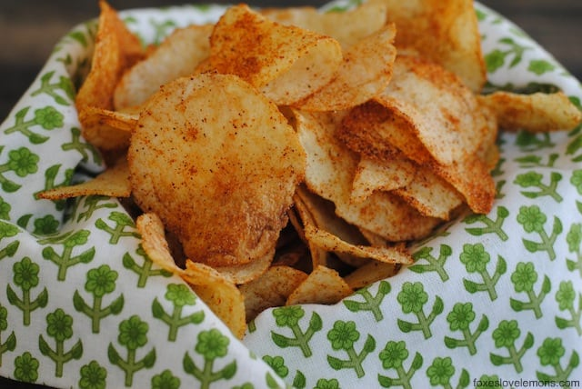 DIY Seasoned Potato Chips - perfect for a party! Eat warm, custom-seasoned potato chips right out of the oven!