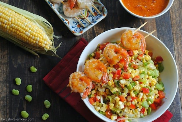 Spicy Chipotle Mango Shrimp with Succotash – a fresh, light summer dish that comes together in under 30 minutes.
