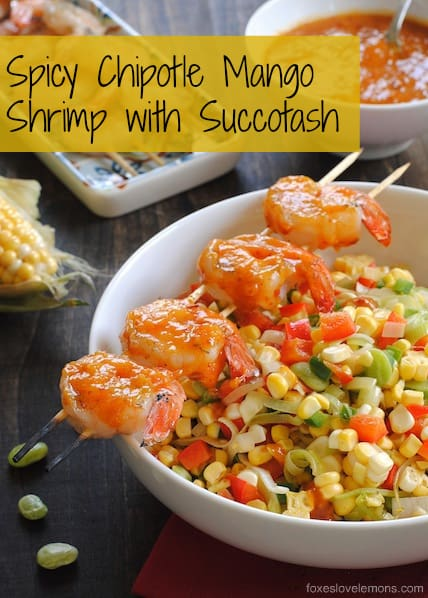 Spicy Chipotle Mango Shrimp with Succotash – a fresh, light summer dish that comes together in under 30 minutes. | foxeslovelemons.com