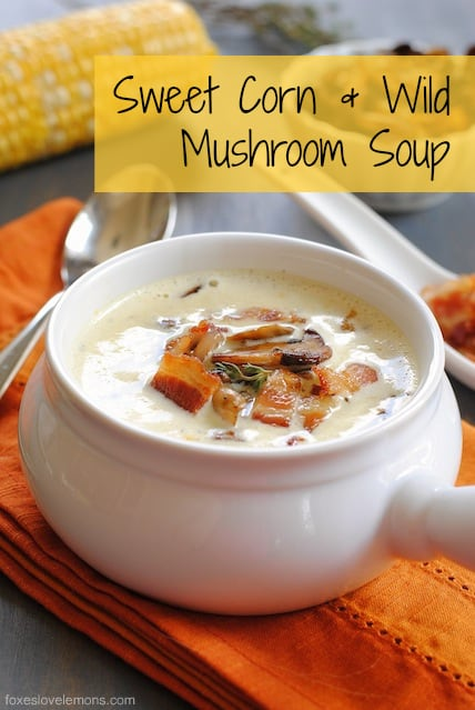 """Sweet Corn & Wild Mushroom Soup - A creamy summer soup celebrating the season's sweet corn. Topped with crispy bacon and seared wild mushrooms. From Michael Symon's """"Live To Cook"""" cookbook. 