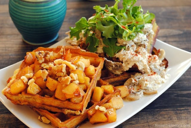 Sweet + Savory Waffles: Savory Herbed Waffles with Roasted Chicken & Mustard Cream Sauce + Sweet Waffles with Apple Compote & Walnuts