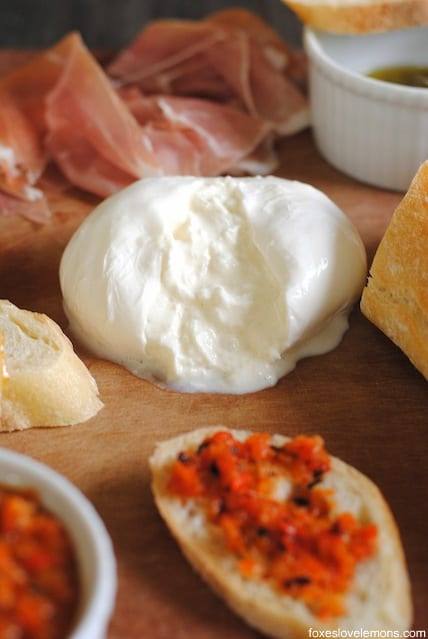 Burrata with Grilled Red Pepper Dip – the perfect cheese board for a party, or as a simple dinner.