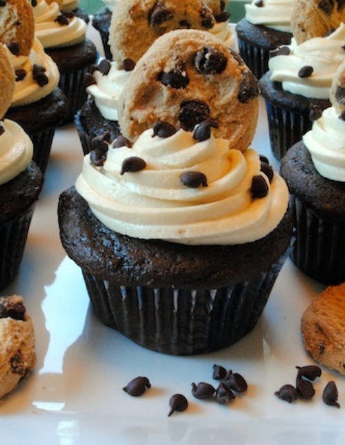 Chocolate Chip Cookie Dough Cupcakes – A hidden chunk of dense, gooey cookie dough in the middle of each light, fluffy chocolate cupcake. | foxeslovelemons.com
