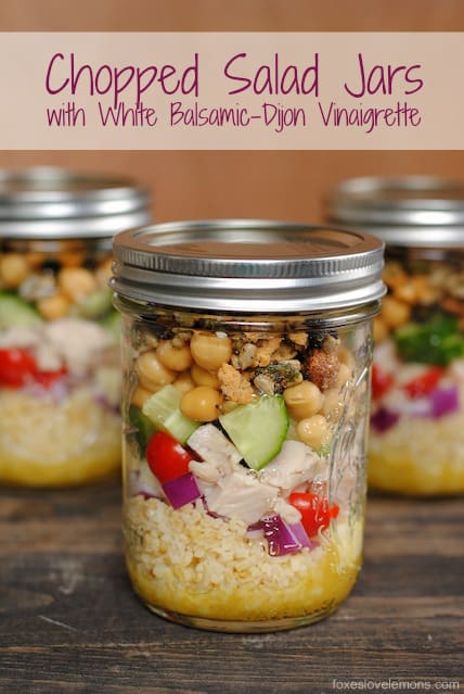 Chopped Salad Jars with White Balsamic-Dijon Vinaigrette - make 4 healthy and delicious lunches at once, and keep them in the fridge all week! | foxeslovelemons.com