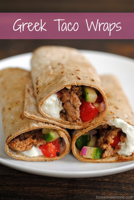 Greek Taco Wraps - seasoned ground lamb wrapped up with a Greek yogurt tzatziki and tomato-cucumber relish.