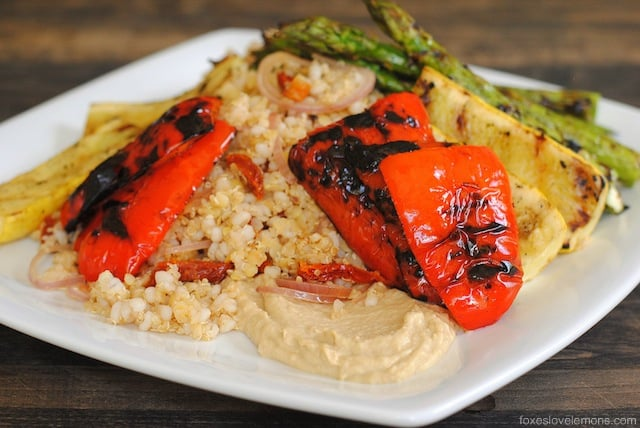 Mixed Grain & Lentil Salad with Grilled Vegetables & Hummus: A wholesome and filling #meatlessmonday dinner.