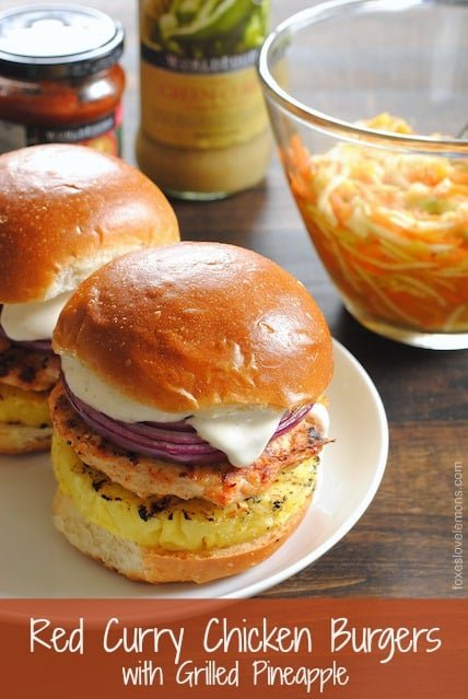 Red Curry Chicken Burgers with Grilled Pineapple, Red Onion & Lime Mayo