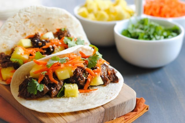 Asian Short Rib Tacos with Pineapple and Crunchy Slaw - a tasty meal where your slow cooker does all the work! | foxeslovelemons.com