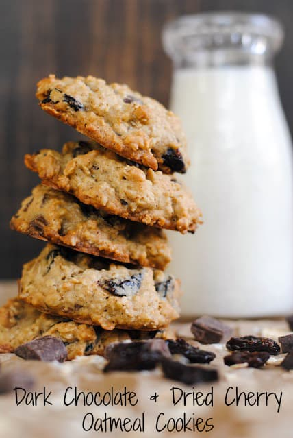 Dark Chocolate and Dried Cherry Oatmeal Cookies – a chunky oatmeal cookie full of huge dark chocolate chunks and dried Michigan cherries. | foxeslovelemons.com