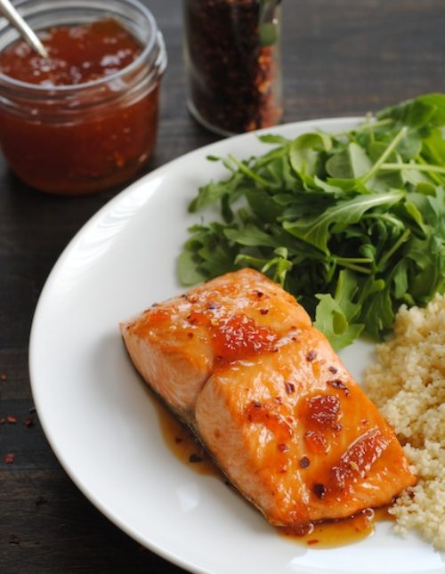Roasted Salmon with Spicy Apricot Glaze – a healthy meal that comes together in THREE MINUTES, plus roasting.   foxeslovelemons.com