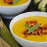 Sweet Dumpling Squash Soup with Crispy Bacon #VitamixWeek