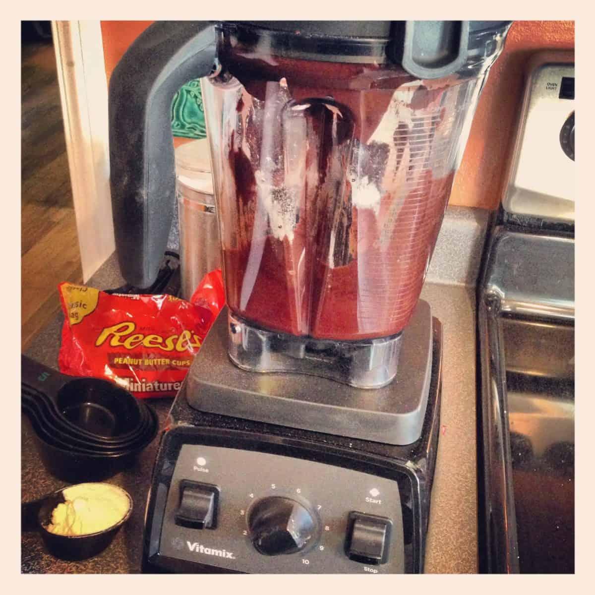 Peanut Butter Cup Blender Brownies – deeply chocolate brownies with a peanut butter cup inside, whipped up in a blender! | foxeslovelemons.com
